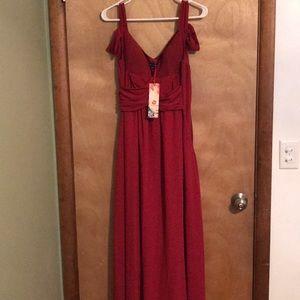 XS red long formal off the shoulder dress